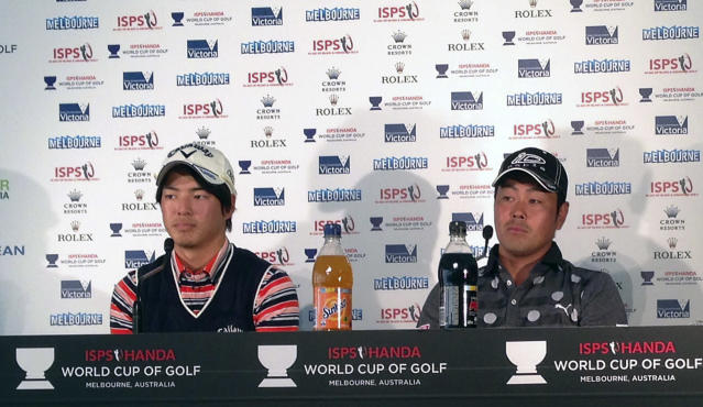 Japan's Ryo Ishikawa, left, and Hideto Tanihara attend a press conference in Melbourne, Australia, Tuesday, Nov. 19, 2013, ahead of the World Cup of Golf at Royal Melbourne gold club. Ishikawa is making his second trip to Royal Melbourne with fond memories of the course from the 2011 Presidents Cup and as part of a strong Asian contingent for this week's World Cup. (AP Photo/Dennis Passa)