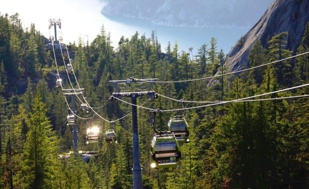 The Sea to Sky Gondola is pictured in Squamish, B.C., on July 21, 2019. The attraction reopens Friday, eight months after the steel gondola cable was severed for the second time. (Ben Nelms/CBC - image credit)