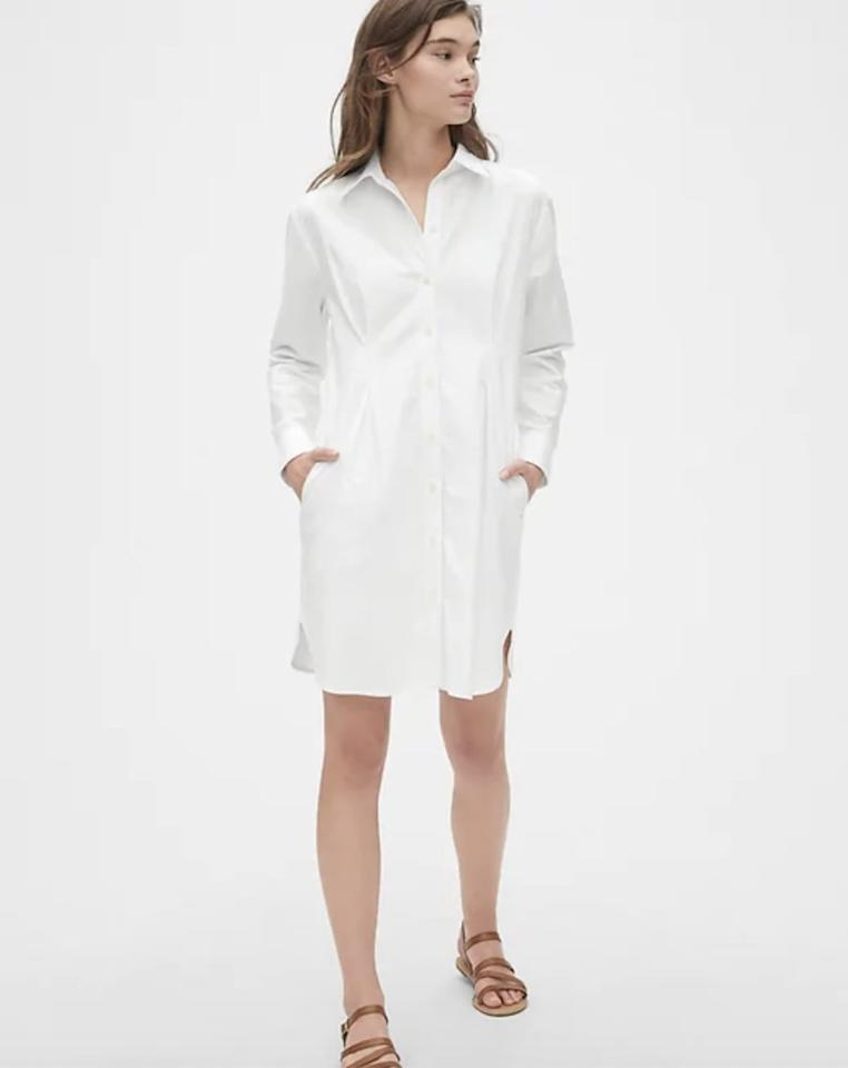 """<p>There's nothing more chic than a crisp <a href=""""https://www.popsugar.com/buy/white-shirt-dress-479550?p_name=white%20shirt%20dress&retailer=gap.com&pid=479550&price=70&evar1=fab%3Aus&evar9=46496003&evar98=https%3A%2F%2Fwww.popsugar.com%2Ffashion%2Fphoto-gallery%2F46496003%2Fimage%2F46496034%2FGap-Pleated-Oxford-Shirtdress&prop13=mobile&pdata=1"""" rel=""""nofollow"""" data-shoppable-link=""""1"""" target=""""_blank"""" class=""""ga-track"""" data-ga-category=""""Related"""" data-ga-label=""""https://www.gap.com/browse/product.do?pid=493767002&amp;cid=8792&amp;pcid=8792&amp;grid=pds_2_147_1&amp;cpos=2&amp;cexp=1161&amp;cid=CategoryIDs%3D8792&amp;cvar=8259&amp;ctype=Listing&amp;cpid=res19080812274214603600192#pdp-page-content"""" data-ga-action=""""In-Line Links"""">white shirt dress</a> ($70). Wear it as-is while the weather is in transition, and throw on some black tights and boots when it gets chillier. </p>"""
