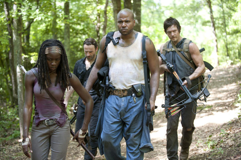 """Michonne (Danai Gurira), Rick Grimes (Andrew Lincoln), Oscar (Vincent Ward) and Daryl Dixon (Norman Reedus) in """"The Walking Dead"""" episode, """"When the Dead Come Knocking."""""""