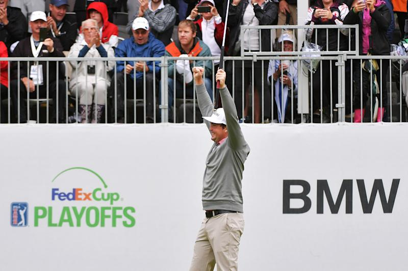 NEWTOWN SQUARE, PA - SEPTEMBER 10: Keegan Bradley celebrates winning the BMW Championship on the first playoff hole at Aronimink Golf Club on September 10, 2018 in Newtown Square, Pennsylvania. (Photo by Drew Hallowell/Getty Images)
