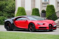 FILE PHOTO: A Bugatti Chiron sports car stands in front of the company's headquarters Chateau St. Jean in Molsheim