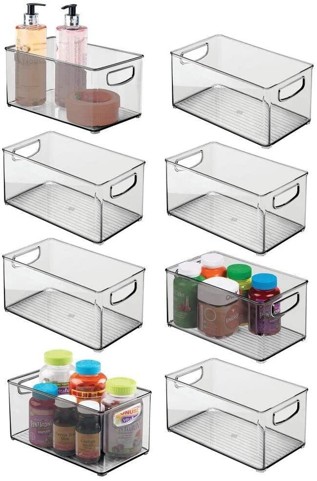 <p>Whether it's a cabinet, a cupboard, or even a refrigerator, these <span>Mdesign Deep Plastic Storage Bin With Handles</span> ($65 for 8) are useful all over the house. Keep everything in its place with these clear storage bins.</p>