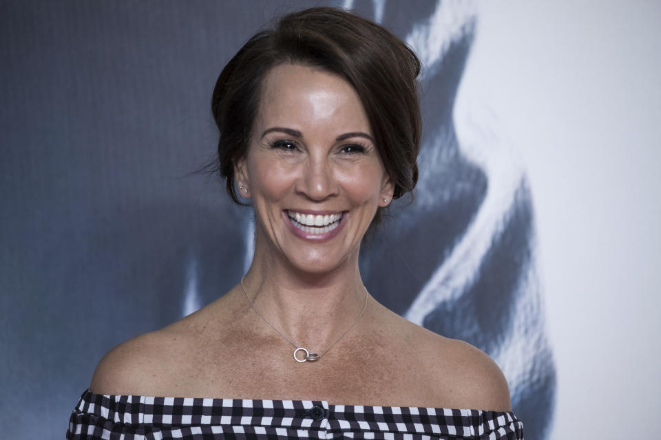 Andrea McLean poses for photographers upon arrival at the premiere of the film 'Mission Impossible Fallout', in London, Friday, July 13, 2018. (Photo by Vianney Le Caer/Invision/AP)