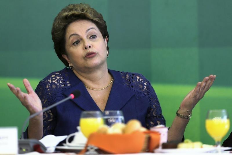 Brazilian President Rousseff speaks during breakfast with media at the Planalto Palace in Brasilia