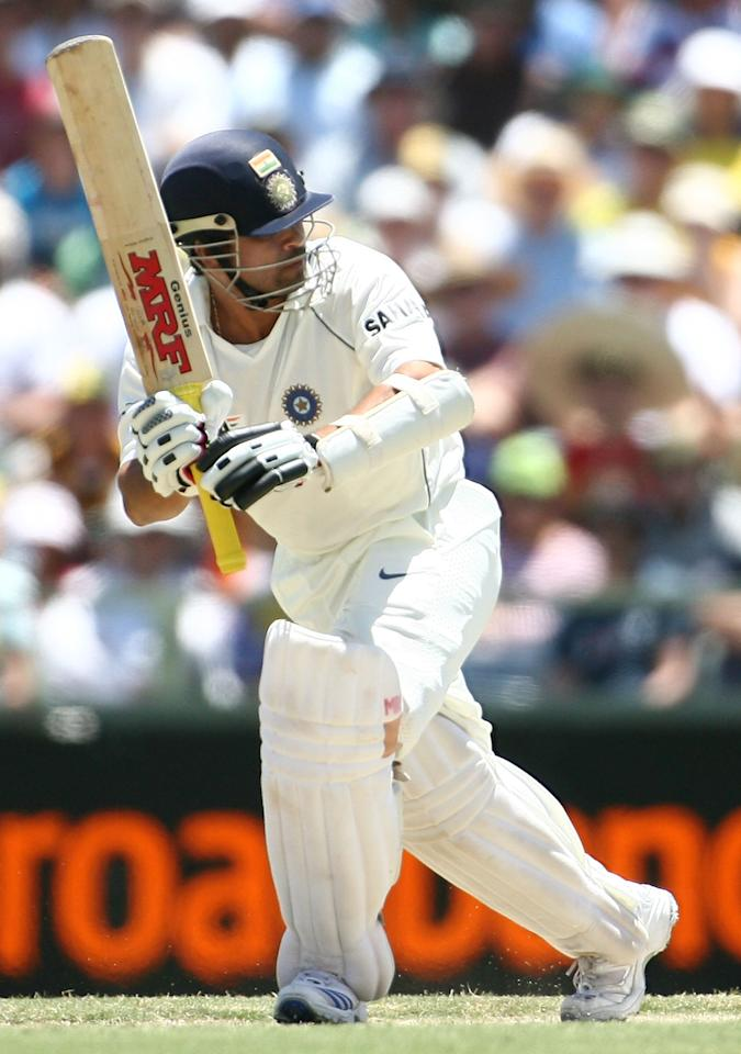 PERTH, AUSTRALIA - JANUARY 16: Sachin Tendulkar of India works the ball away during day one of the Third Test match between Australia and India at the WACA on January 16, 2008 in Perth, Australia.  (Photo by Paul Kane/Getty Images)