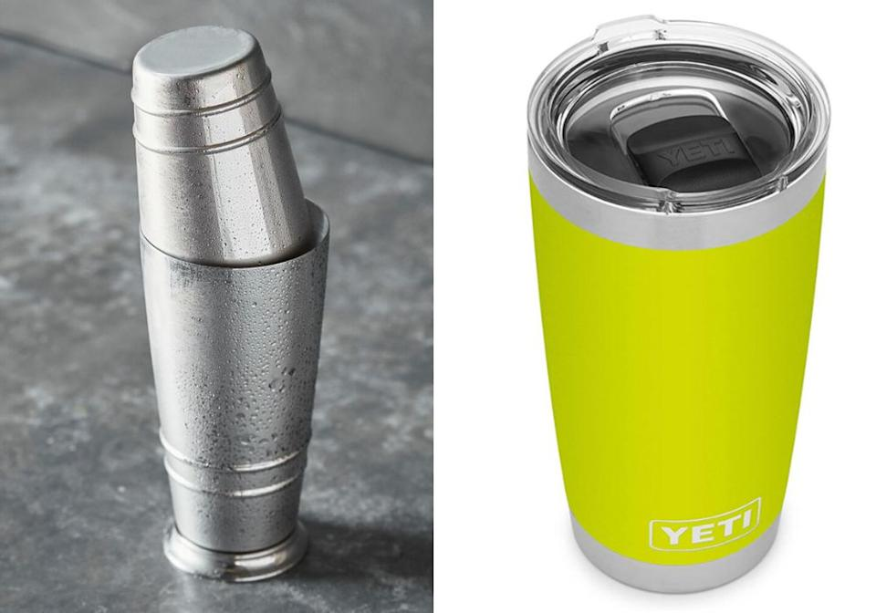 "A shaker is essential for an on-the-rocks margarita. ""I love the $40 stainless steel<a href=""https://amzn.to/2R2fasO"" target=""_blank"" rel=""noopener noreferrer""> Boston shaker from the Fortessa line by Charlie Joly</a>,"" Mix said. ""Some shakers have a seal that's too shallow, but I like it when the smaller tin slides farther into the big tin, which this one does, so I get a stronger seal.""<br /><br /><strong><a href=""https://amzn.to/2R2fasO"" target=""_blank"" rel=""noopener noreferrer"">Get the Fortessa shaker for $40.31<br /><br /></a></strong>Ruiz  offered a hack for the shakerless would-be mixologist: ""You can use a mason jar or a Yeti mug, too — just anything that will hold a seal.""<br /><br /><a href=""https://amzn.to/3eCciLs"" target=""_blank"" rel=""noopener noreferrer""><strong>Get the Yeti tumbler for $29.98</strong></a>"