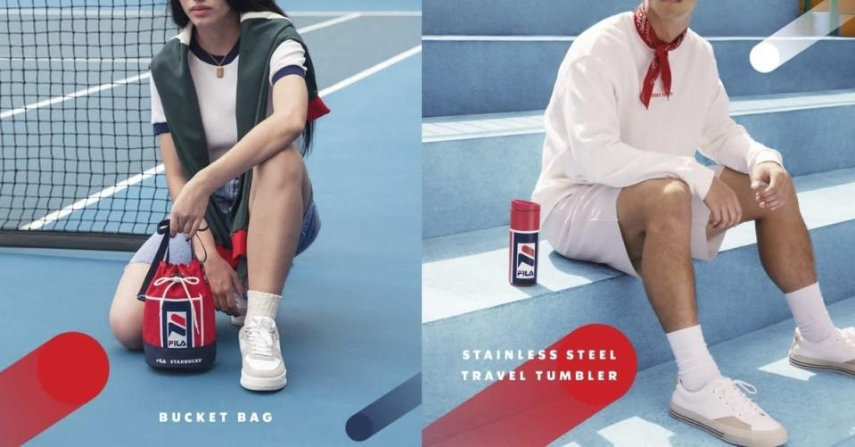 A collage of lifestyle images for Starbucks x FILA