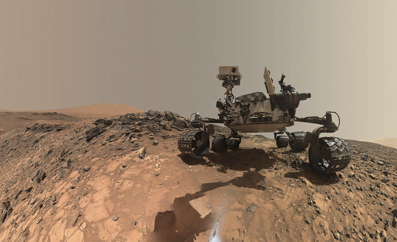 NASA's Curiosity rover is seen on lower Mount Sharp in this low-angle self-portrait taken Aug. 15, 2015. (NASA/Jet Propulsion Laboratory-Caltech/Malin Space Science Systems via Reuters)