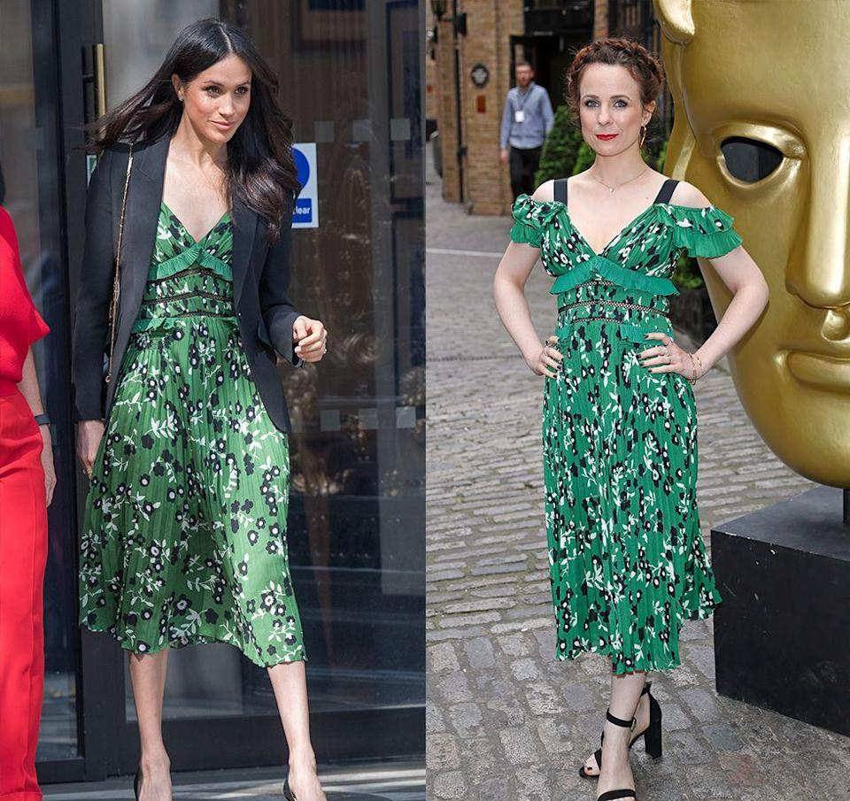 <p>While attending the Invictus Games reception in 2018, Meghan hid the cold-shoulder style of this green printed Self-Portrait dress under a black blazer. Fans were given a closer look at the dress's details when the very next day it was worn to the British Academy Television Awards by actress Cariad Lloyd.</p>