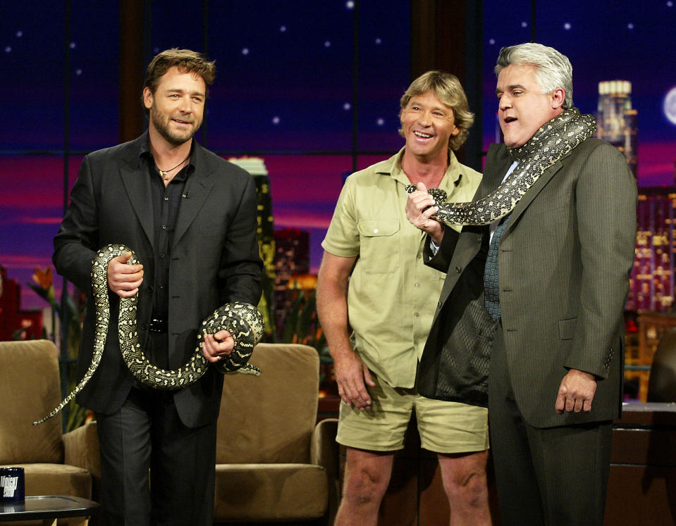 """Russell Crowe (L) and """"Crocodile Hunter"""" Steve Irwin appear on """"The Tonight Show with Jay Leno"""" at the NBC Studios on November 6, 2003 in Burbank, California. (Photo by Kevin Winter/Getty Images)"""