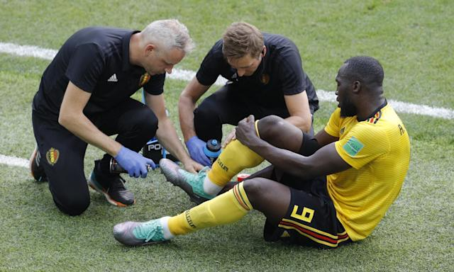 Belgium's Romelu Lukaku receives treatment during the World Cup win over Tunisia in which he scored twice.
