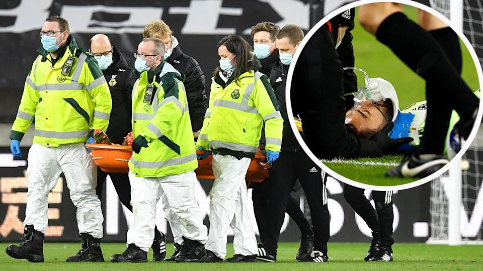 Pictured here, Rui Patricio was stretchered off being knocked out against Liverpool.