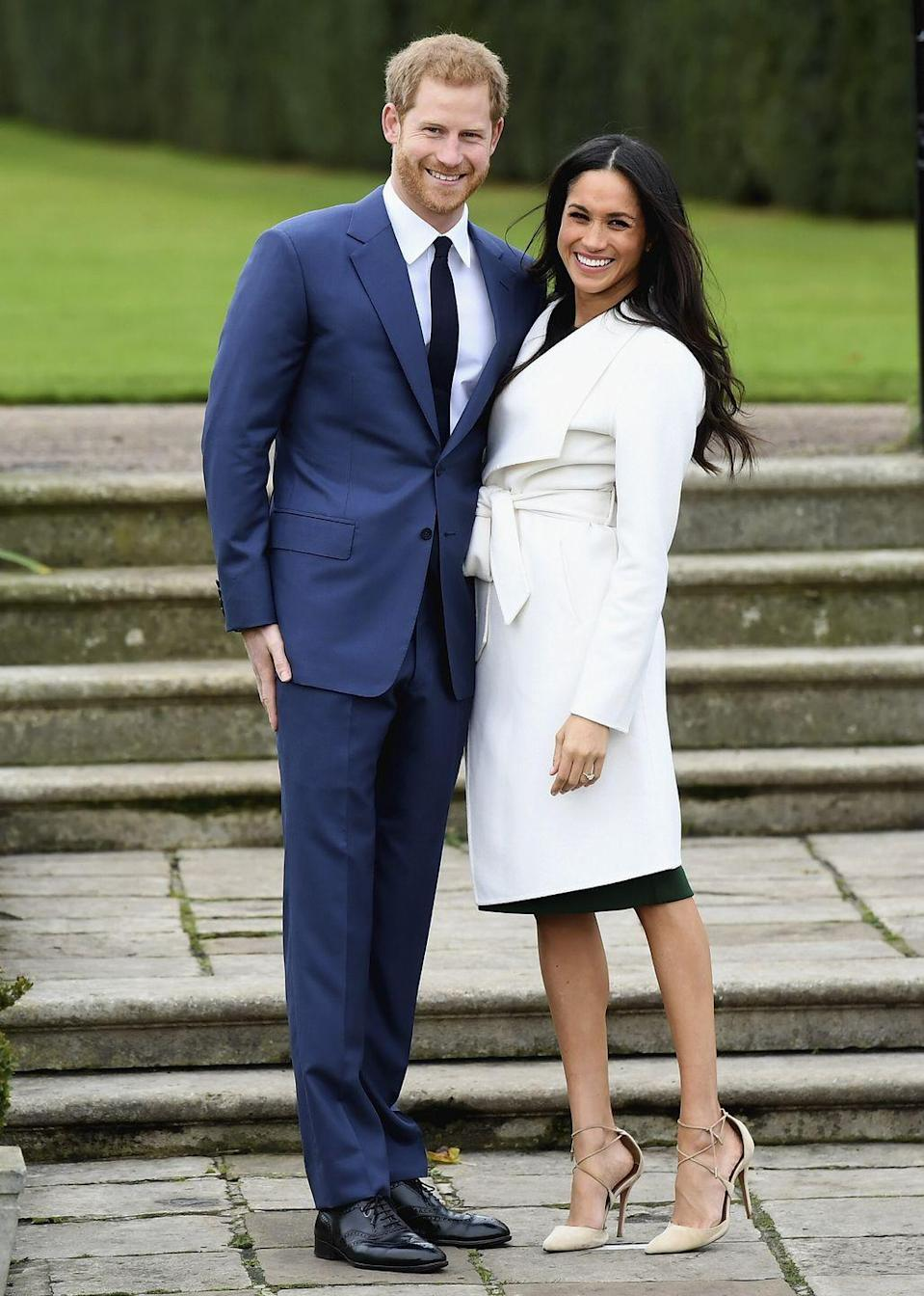 """<p>Harry and Meghan hit it off on a <a href=""""https://www.townandcountrymag.com/society/a9664508/prince-harry-meghan-markle-relationship/"""" rel=""""nofollow noopener"""" target=""""_blank"""" data-ylk=""""slk:blind date"""" class=""""link rapid-noclick-resp"""">blind date</a> back in July 2016. In November 2017, the couple happily announced their engagement with a photoshoot and interview.</p>"""