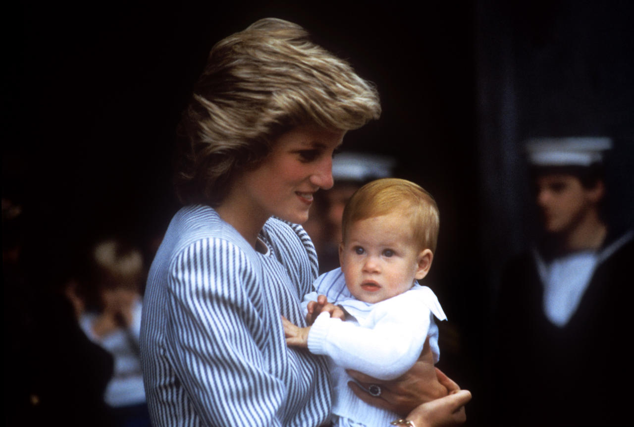 <p>Princess Diana carries an adorable one-year-old Prince Harry, as the Royal Family set sail for the Western Isles (PA) </p>