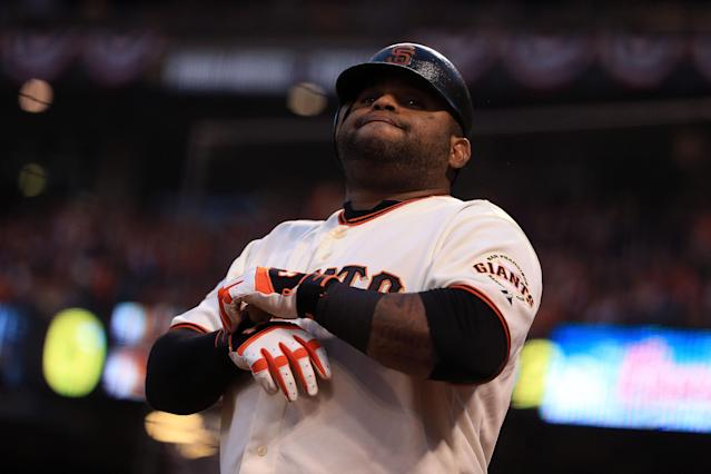 SAN FRANCISCO, CA - OCTOBER 24: Pablo Sandoval #48 of the San Francisco Giants looks on against Detroit Tigers during Game One of the Major League Baseball World Series at AT&T Park on October 24, 2012 in San Francisco, California. (Photo by Doug Pensinger/Getty Images)