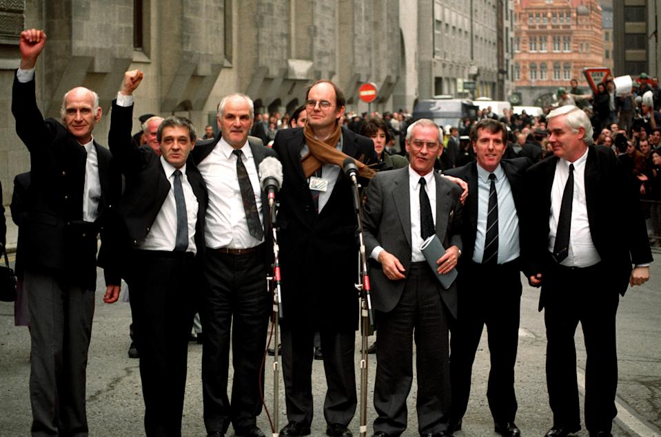 The Birmingham Six and then-MP Chris Mullen, centre, outside the Old Bailey