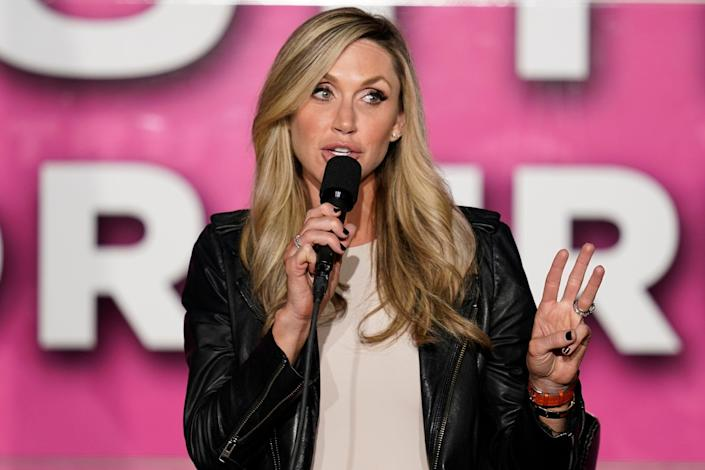 Lara Trump speaks to a crowd during a campaign rally on a Women for Trump Bus Tour campaign event on 8 October 2020. (AP)
