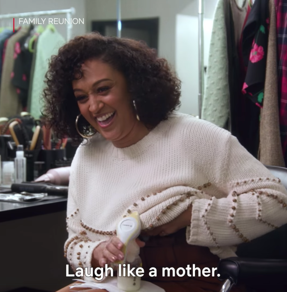Woman pumps breastmilk on set Netflix Motherhood in Focus campaign