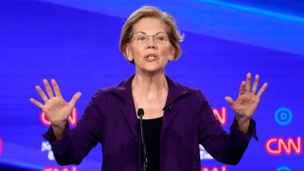 PHOTO: DemoDemocratic presidential hopeful Elizabeth Warren speaks during the fourth Democratic primary debate at Otterbein University in Westerville, Ohio, Oct. 15, 2019. (John Minchillo/AP)