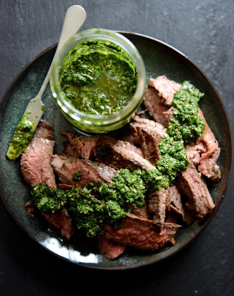 "<p>Perfect for nights when you wanna light up the grill and chow down on a good old hunk of meat. Get the recipe <a rel=""nofollow"" href=""http://www.howsweeteats.com/2014/01/garlic-brown-sugar-flank-steak-with-chimichurri?mbid=synd_yahoofood"">here</a>.</p><p><b>Per one serving:</b> <em>450 calories, 12 g carbs</em></p>"