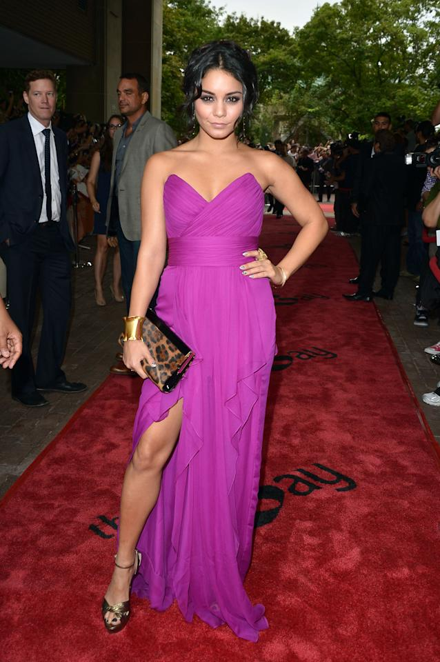 "BEST: Vanessa Hudgens wore a flowing, fuschia Marchesa gown to the premiere of her raunchy new movie, ""Spring Breakers."" The gold accessories and leopard-print purse keeps the ensemble interesting but don't overpower it, leaving the beautiful dress as the real star."
