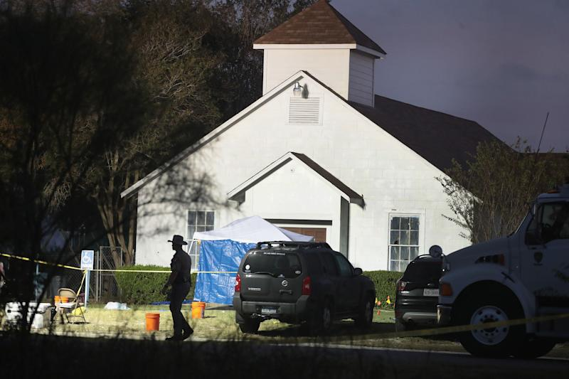 View of the First Baptist Church of Sutherland Springs.