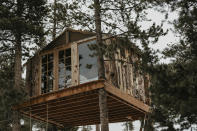 This undated photo provided by Jessica Brookhart shows a treehouse owned by Brookhart in Gold Hill, Colorado. Brookhart bought it recently and occasionally rents it. (Chelsea Beamer via AP)