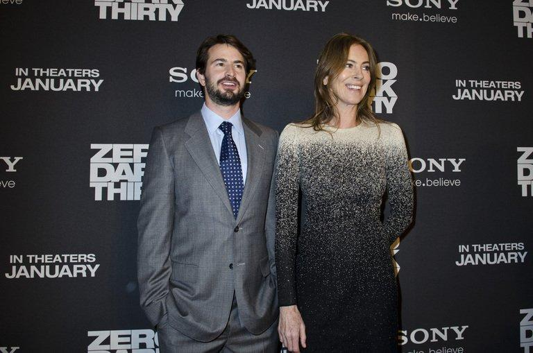 "Mark Boal (L) and Kathryn Bigelow pose during the ""Zero Dark Thirty"" Washington DC premiere on January 8, 2013"