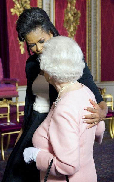 PHOTO: Michelle Obama walks with Queen Elizabeth II at a reception at Buckingham Palace in London, April 1, 2009. (Daniel Hambury/AP, FILE)