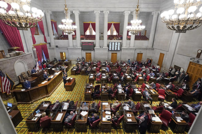 Members of the Tennessee House debate a bill allowing most adults to carry handguns without obtaining a permit Monday, March 29, 2021, in Nashville, Tenn. The bill passed the House, 64-29, and can now be signed into law by Gov. Bill Lee. (AP Photo/Mark Humphrey)