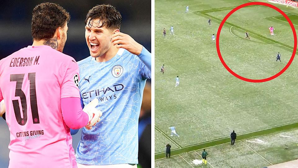 Manchester City goalkeeper Ederson (pictured left) celebrating and (pictured right) passing the ball from his own box.