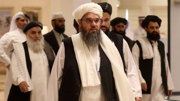 PHOTO: The Taliban's former envoy to Saudi Arabia Shahabuddin Delawar (C) arrives with other Taliban mebmers to attend the Intra Afghan Dialogue talks in the Qatari capital Doha on July 7, 2019. (Karim Jaafar/AFP/Getty Images)