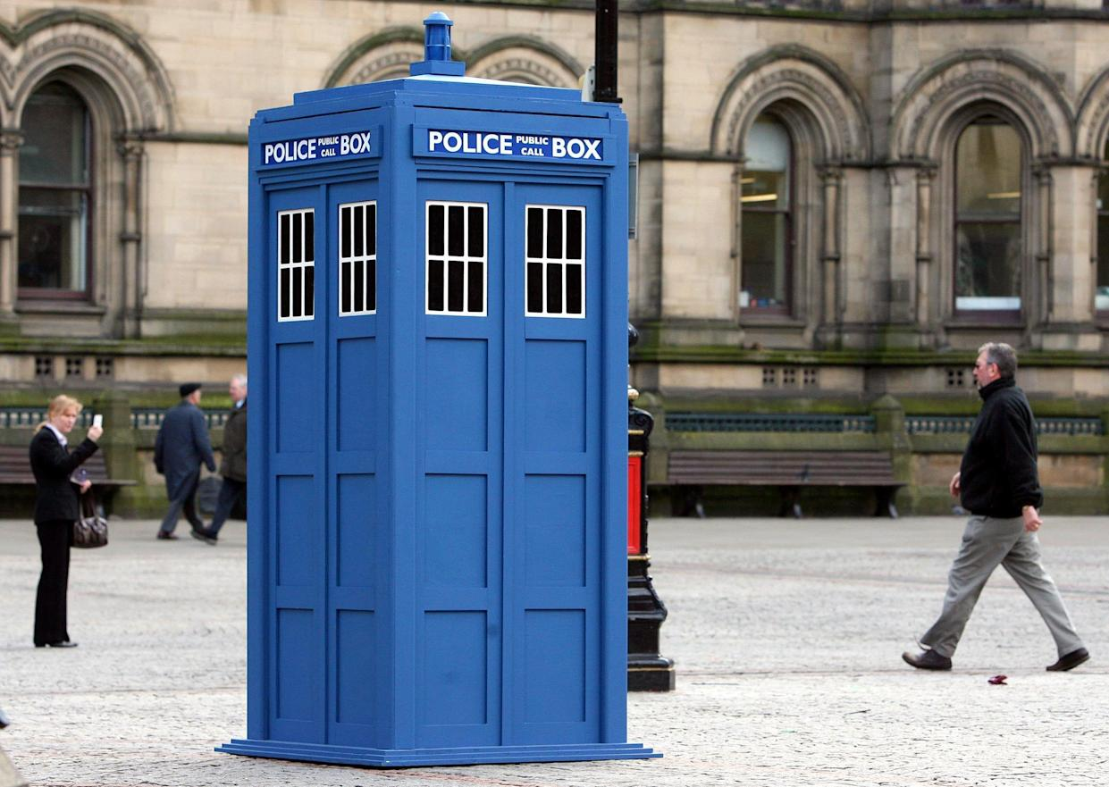 Doctor Who's Tardis is seen outside at Albert Square, Manchester, to promote the Doctor Who Up-Close exhibition which is at The Museum of Science and Industry.