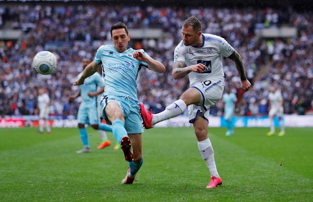 Soccer Football - National League Promotion Final - Tranmere Rovers v Boreham Wood - Wembley Stadium, London, Britain - May 12, 2018 Tranmere Rovers' James Norwood in action with Boreham Woods' Tom Champion Action Images/Andrew Couldridge