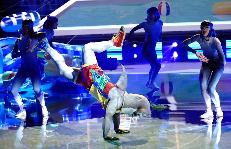 """Hammerhead appears to be trying to submerge during a performance on Fox's """"The Masked Dancer."""""""