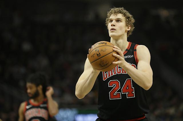 Chicago Bulls' Lauri Markkanen shoots a free throw during the first half of an NBA basketball game against the Milwaukee Bucks Monday, Jan. 20, 2020, in Milwaukee. (AP Photo/Aaron Gash)