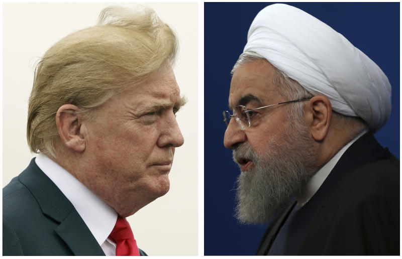 COMBO - This combination of two pictures shows U.S. President Donald Trump, left, on July 22, 2018, and Iranian President Hassan Rouhani on Feb. 6, 2018. The Trump administration is announcing the reimposition of all U.S. sanctions on Iran that had been lifted under the 2015 nuclear deal. The Trump administration is announcing the reimposition of all U.S. sanctions on Iran that had been lifted under the 2015 nuclear deal. (AP Photo)