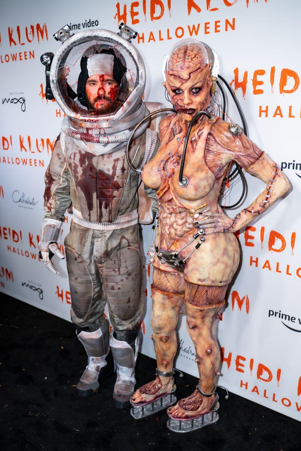 <p>The supermodel partnered up with husband Tom Kaulitz for this gory, out-of-this-world look. Her entire costume came together with 10 hours of prosthetics and makeup, which she shared during her Amazon livestream. </p>