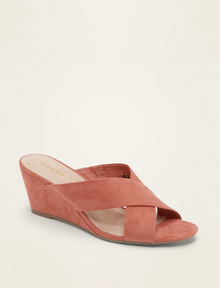 Faux-Suede Cross-Strap Wedge Sandals in Desert Rose (Photo via Old Navy)
