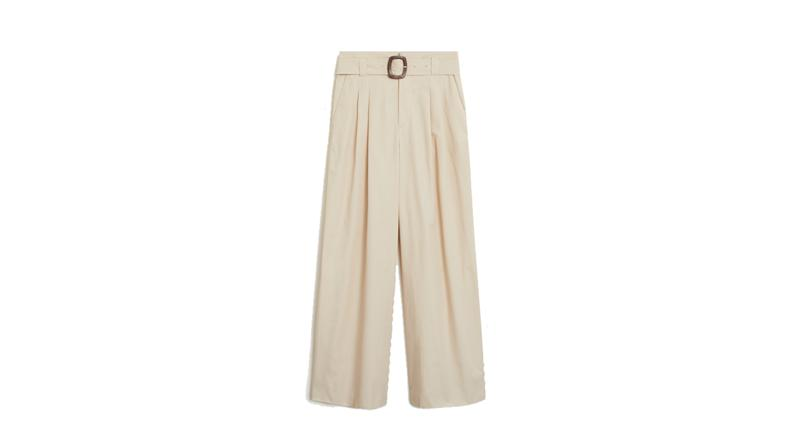 Belt cotton-blend trousers
