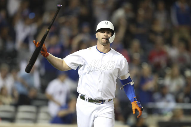 New York Mets' Pete Alonso drops his bat after hitting a three-run home run during the fifth inning of a baseball game against the Atlanta Braves, Saturday, Aug. 24, 2019, in New York. (AP Photo/Mary Altaffer)