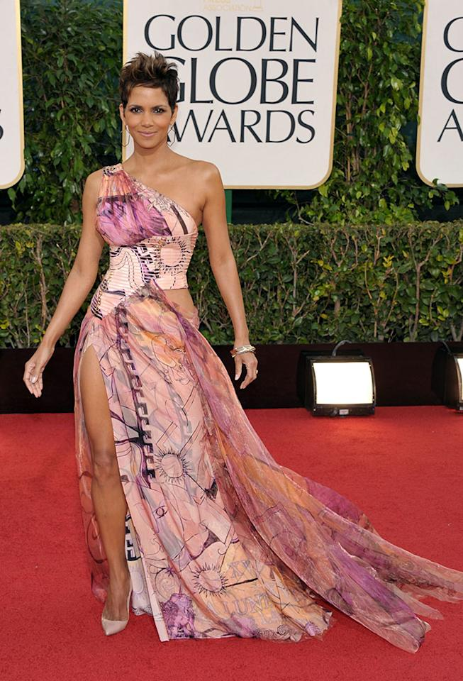 Halle Berry arrives at the 70th Annual Golden Globe Awards at the Beverly Hilton in Beverly Hills, CA on January 13, 2013.