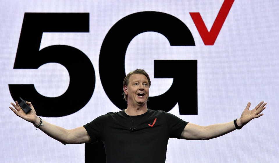 LAS VEGAS, NEVADA - JANUARY 08:  Verizon CEO Hans Vestberg delivers a keynote address at CES 2019 at The Venetian Las Vegas on January 8, 2019 in Las Vegas, Nevada. CES, the world's largest annual consumer technology trade show, runs through January 11 and features about 4,500 exhibitors showing off their latest products and services to more than 180,000 attendees.  (Photo by David Becker/Getty Images)