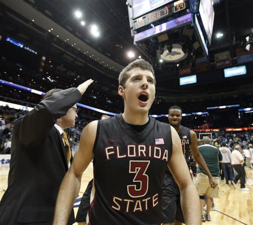 Florida State guard Luke Loucks (3) walks off the courts after an NCAA college basketball game against Duke in the semifinals of the Atlantic Coast Conference tournament, Saturday, March 10, 2012, in Atlanta. Florida State won 62-59. (AP Photo/John Bazemore)