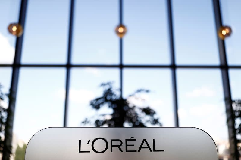 A L'Oreal logo is seen at the company's offices in Levallois-Perret