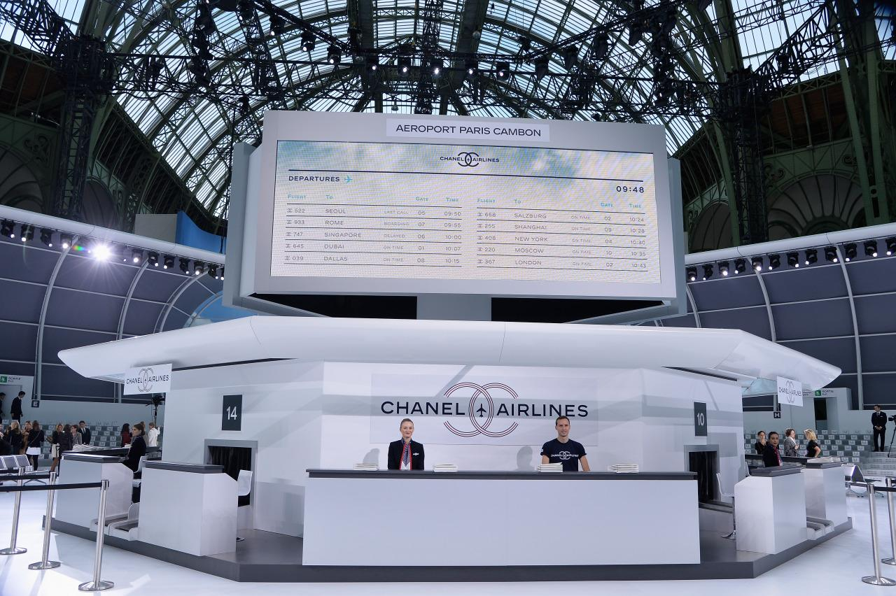 "<p>The #chanelairlines hashtag trended on Twitter for hours last September it's no wonder. The Chanel SS16 show was set in an ""airport"", which the models paraded around while other models manned the check-in desks. <i>[Photo: Getty]</i><br /></p>"