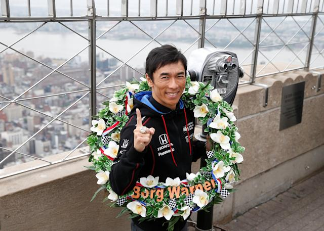 Indianapolis 500 winner Takuma Sato poses during a visit to the Empire State Building in New York City, U.S., May 30, 2017. REUTERS/Brendan McDermid TPX IMAGES OF THE DAY