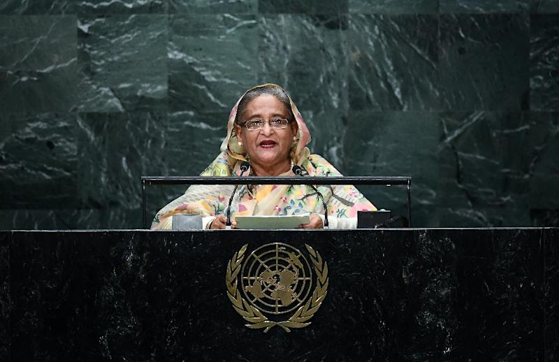 Bangladesh's Prime Minister Sheikh Hasina, pictured in 2016, calls for a resolution to the Rohingya refugee crisis (AFP Photo/Jewel SAMAD)