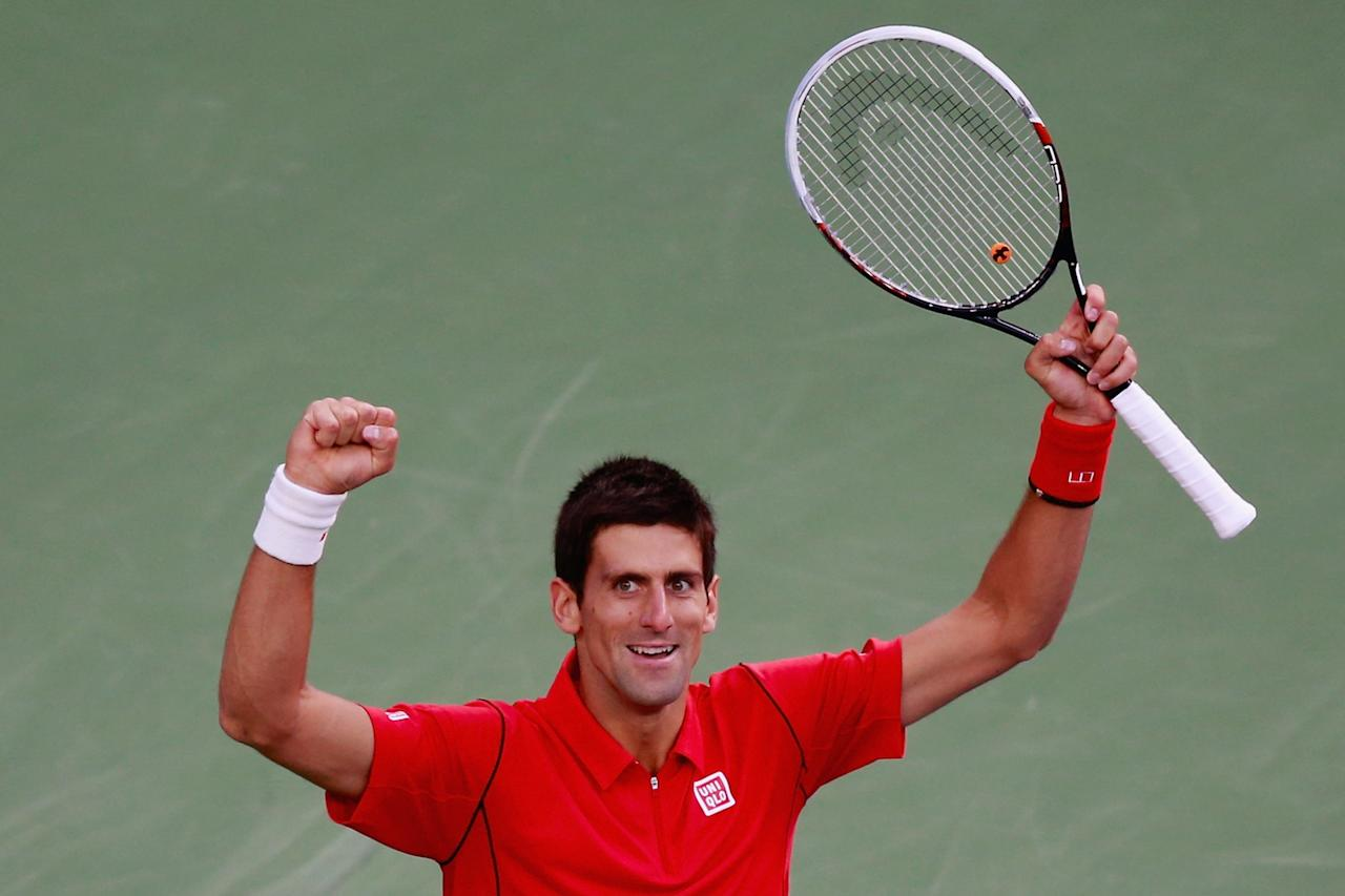 NEW YORK, NY - SEPTEMBER 09: Novak Djokovic of Serbia celebrates a break point during his men's singles final match against Rafael Nadal of Spain on Day Fifteen of the 2013 US Open at the USTA Billie Jean King National Tennis Center on September 9, 2013 in the Flushing neighborhood of the Queens borough of New York City. (Photo by Chris Trotman/Getty Images for the USTA)